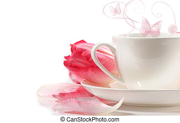 Porcelain teacup with pink tulips on white background