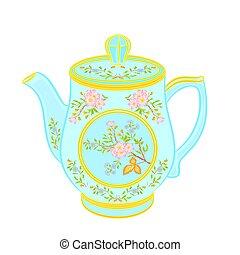 Porcelain teapot with floral pattern part tea service vector illustration