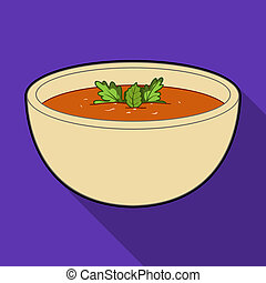 Porcelain tureen with the soup. Vegetarian soup-puree of pumpkin. Vegetarian Dishes single icon in flat style bitmap symbol stock illustration.