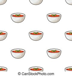 Porcelain tureen with the soup.Vegetarian soup-puree of pumpkin.Vegetarian Dishes single icon in cartoon style vector symbol stock illustration.