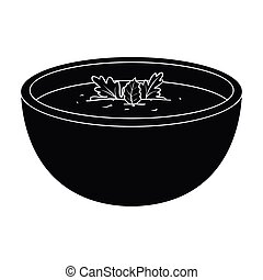 Porcelain tureen with the soup.Vegetarian soup-puree of pumpkin.Vegetarian Dishes single icon in black style vector symbol stock illustration.