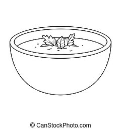 Porcelain tureen with the soup.Vegetarian soup-puree of pumpkin.Vegetarian Dishes single icon in outline style vector symbol stock illustration.