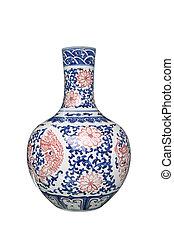 porcelain vase isolated on white, arrange flowers in the ...