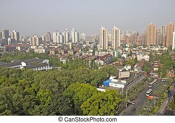 porcelaine, aérien,  Shanghai, vue