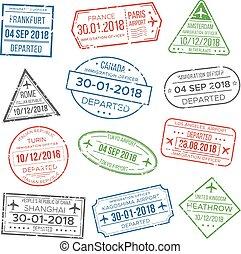porcelaine, boîte, timbre, immigration, italie, travel., visa, passeport