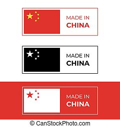 porcelaine, chinois, fait, drapeau, vecteur, illustration, conception, étiquette