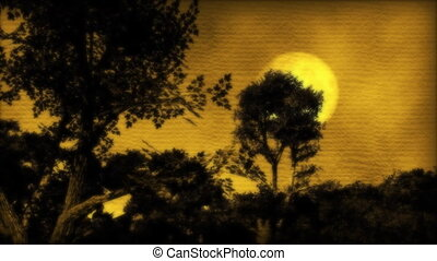 porcelaine, coucher soleil, (1057), lune