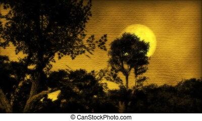 porcelaine, coucher soleil, lune, (1057)