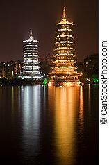 porcelaine, guilin, pagodes