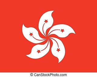 porcelaine, hong, drapeau, kong