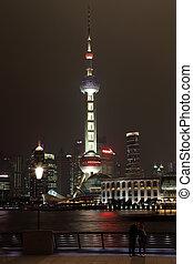 porcelaine, horizon, shanghai, pudong, nuit