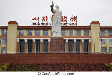 porcelaine, mao, statue, chengdu