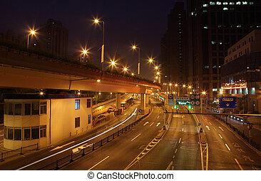 porcelaine, rue, shanghai, éclairé, nuit