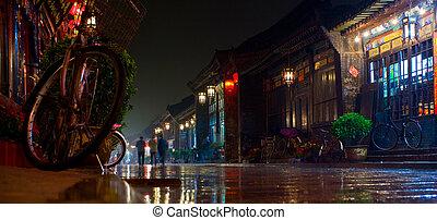 porcelaine, scène, pingyao, nuit