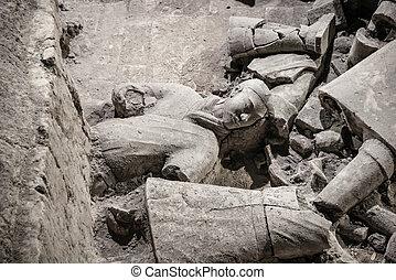 porcelaine, xian, -, mars, 14:, ping, maman, yong, cotta terra, armée, sur, 14, mars, 2016, dans, xian, china., unesco, mondiale, héritage, site., soldat, funéraire, statues