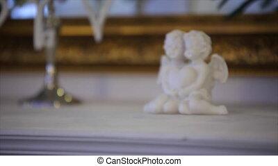 porcelana, anioły, z, serce, w, siła robocza