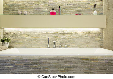 porcelana, baño, en, lujo, cuarto de baño