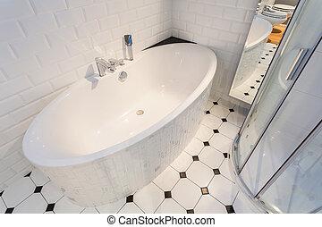 porcelana, banho, em, luxo, apartamento