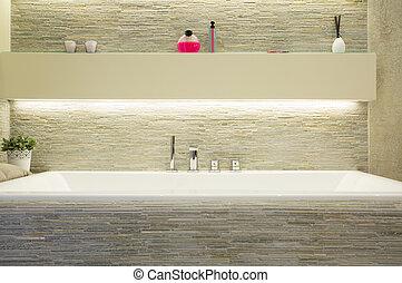 porcelana, banho, em, luxo, banheiro