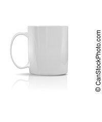 porcelana, blanco, photorealistic, taza