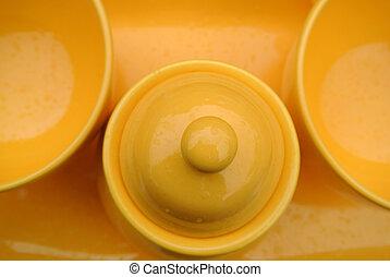 porcelana, jogo, amarela