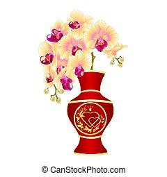 porcelana, ouro, vetorial, coração, phalenopsis, orquídea, ornamento, vermelho, vaso