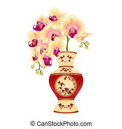 porcelana, wektor, phalenopsis, storczyk, żółty, wazon