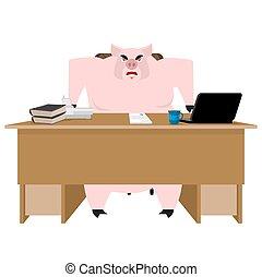 porcelet, ferme, bureau., boss., illustration, cochon, desk., vecteur, homme affaires