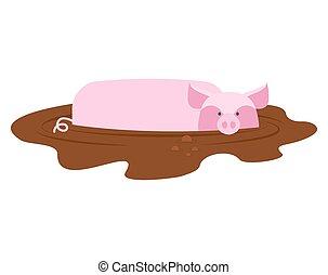 porcelet, ferme, puddle., cochon, sale, animal, mud., porcin