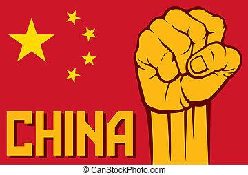 porcellana, afist, (flag, di, china)
