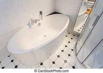 porcellana, bagno, in, lusso, appartamento