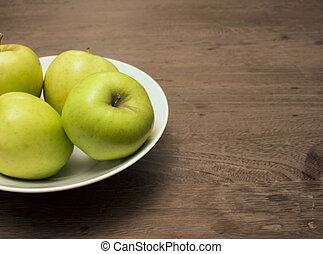 porcellana, ciotola, tre, legno, mele, tavola, bianco