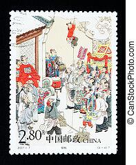 porcellana, -, circa, 2001:, uno, francobollo, stampato, in, porcellana, mostra, il, storico, storia, di, rubare, pesca, circa, 2001
