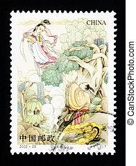 porcellana, -, circa, 2002:, uno, francobollo, stampato, in, porcellana, mostra, uno, storico, amore, storia, circa, 2002