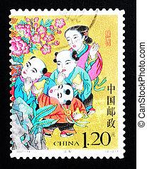 porcellana, -, circa, 2007:, uno, francobollo, stampato, in, porcellana, mostra, uno, storico, storia, di, condivisione, pere, circa, 2007