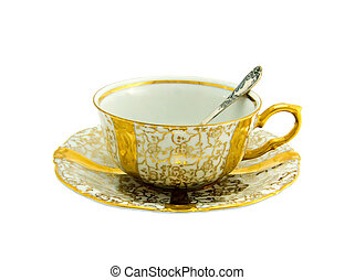 porcellana, tazza oro