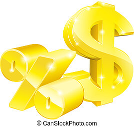 porcentagem, dólar, taxa, sinais
