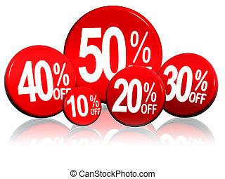 porcentagens, círculos, diferente, vermelho