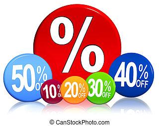 porcentagens, cor, diferente, círculos
