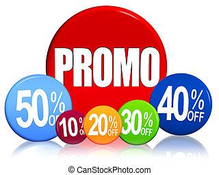 porcentagens, promo, diferente, texto