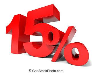 porcentaje, 15%., descuento, quince, rojo, saliendo.