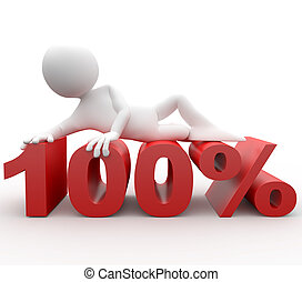porcentaje, acostado, humano, 3d, 100