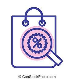 porcentaje, compras, símbolo, bolsa, magnifyng, vidrio, estilo, línea