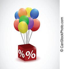 porcentaje, cubo, globos, ilustración