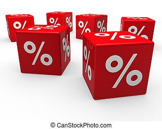 porcentaje, cubo, venta, rojo, 3d