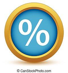 porcentaje, oro, icono