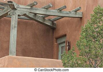 porch, i, en, sydvest, hjem