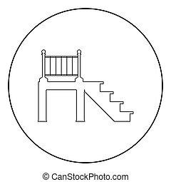 Porch icon black color in circle