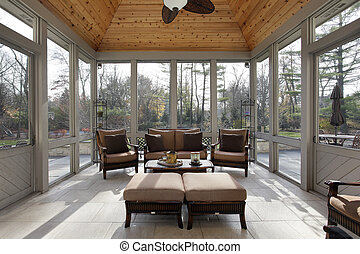 Porch in luxury home