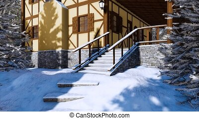Porch of half-timbered rural house at winter day 4K - Snow...